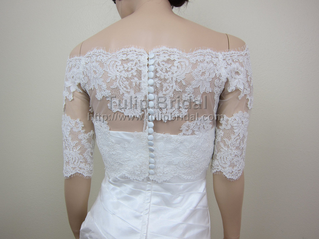 Off Shoulder Wedding Jacket Lace Bolero WJ008