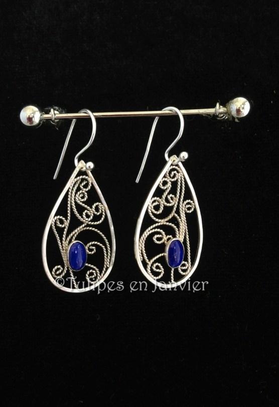 Boucles d'oreilles en filigrane d'argent et lapis lazuli