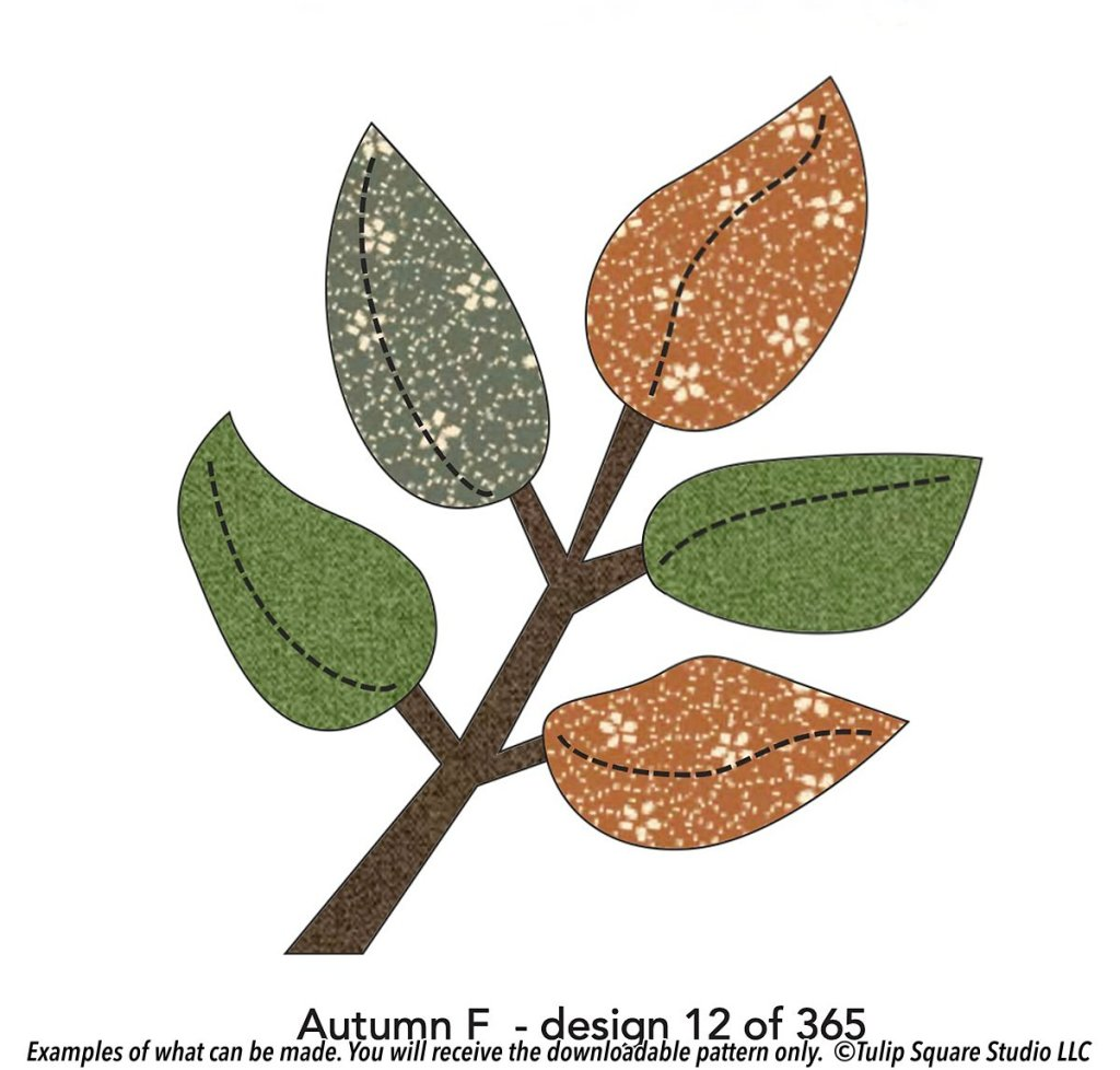 Drawing of an Autumn Branch Free Appliqué for Fall