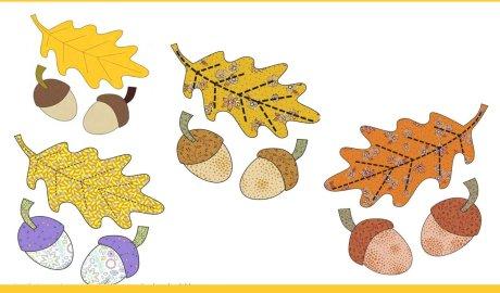 Autumn Leaf and Acorns Free Appliqué Pattern