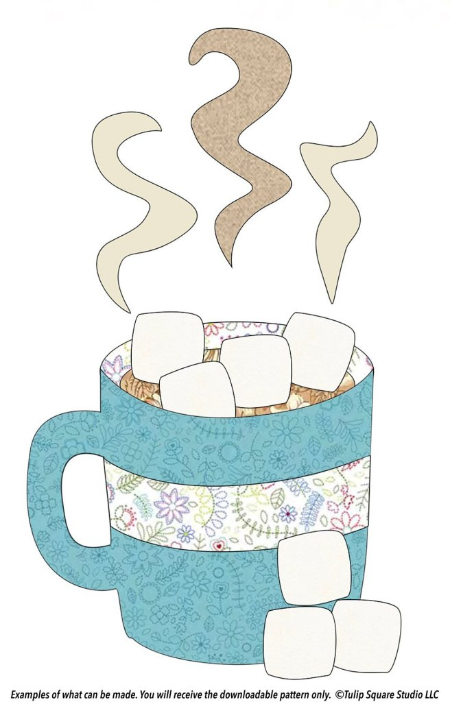 A steaming cup of hot cocoa, topped with marshmallows, drawn to look like fabric appliqué.