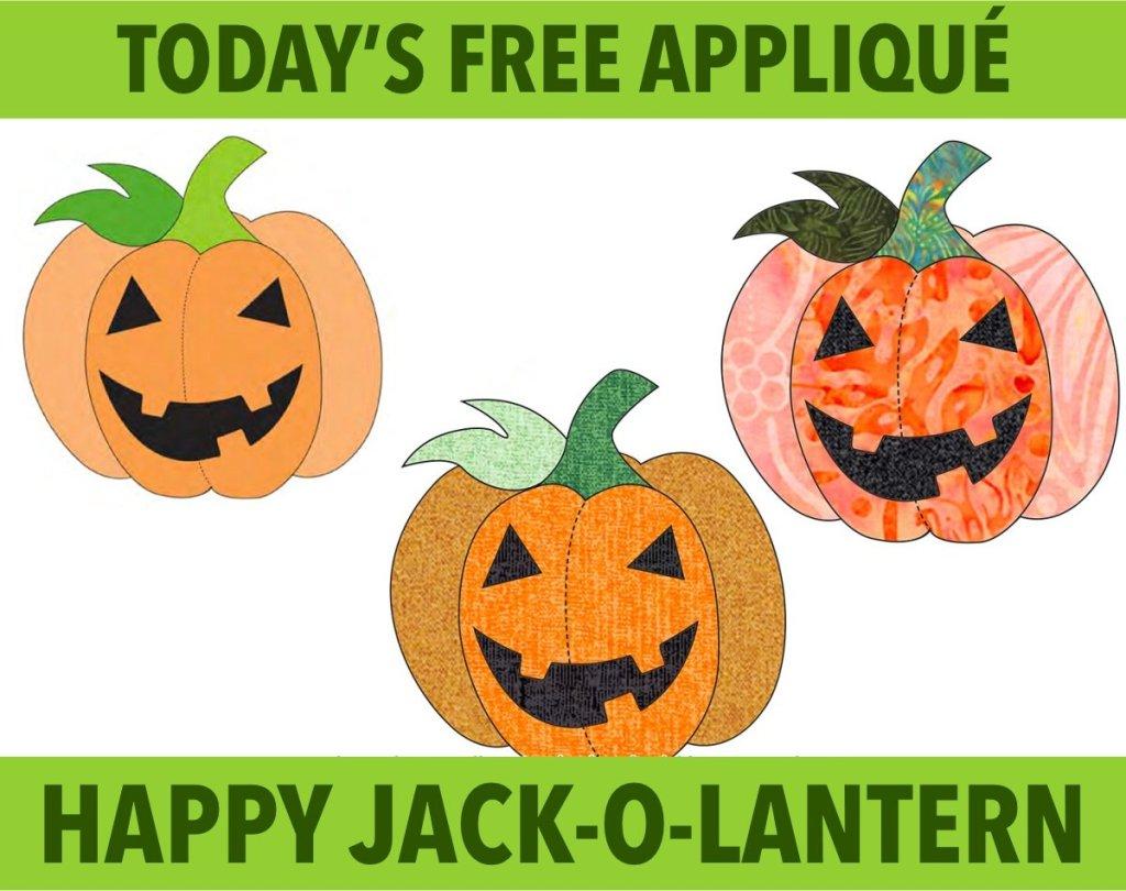 Free happy jack-o-lantern appliqué pattern