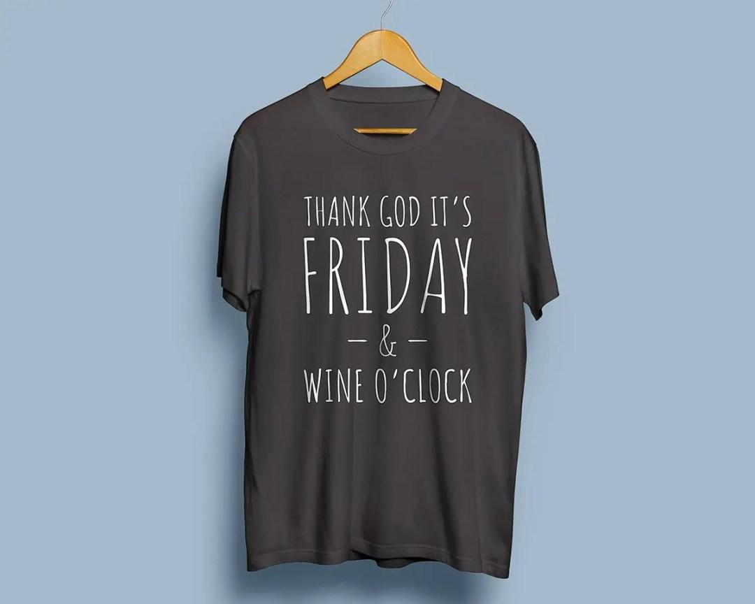 Thank God it's Friday & Wine o'clock - Premium T-shirt herr