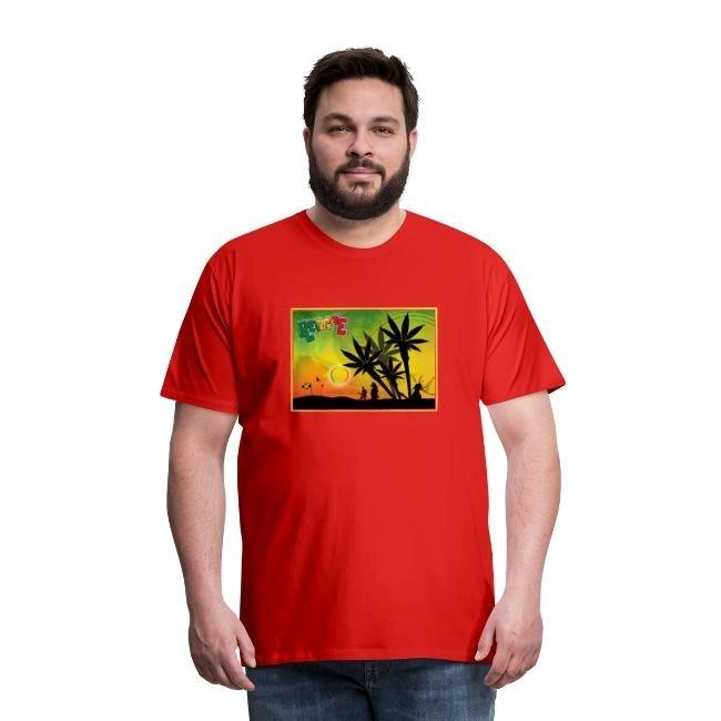 Reggae med cannabispalmer - Premium T-shirt herr