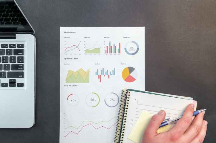 person holding blue ballpoint pen on white notebook.  charts showing investment savings