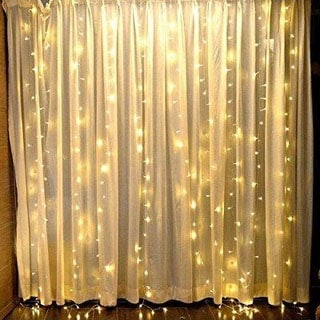 6mt white fairy light curtain backdrop