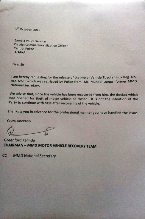 Application Letter For Zambia Police Service