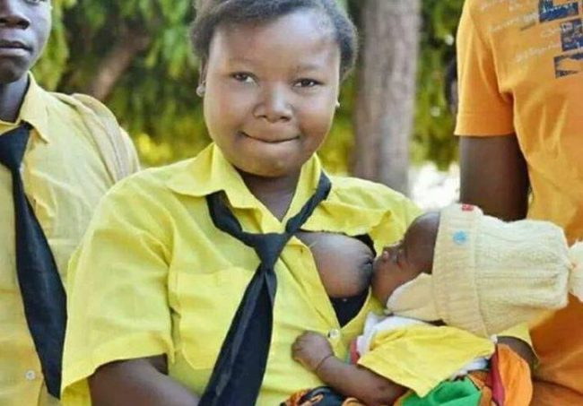 Determination!  She Is A Grade 9 Pupil With A Baby, Besides Her Is the Father To the Child Also A Pupil