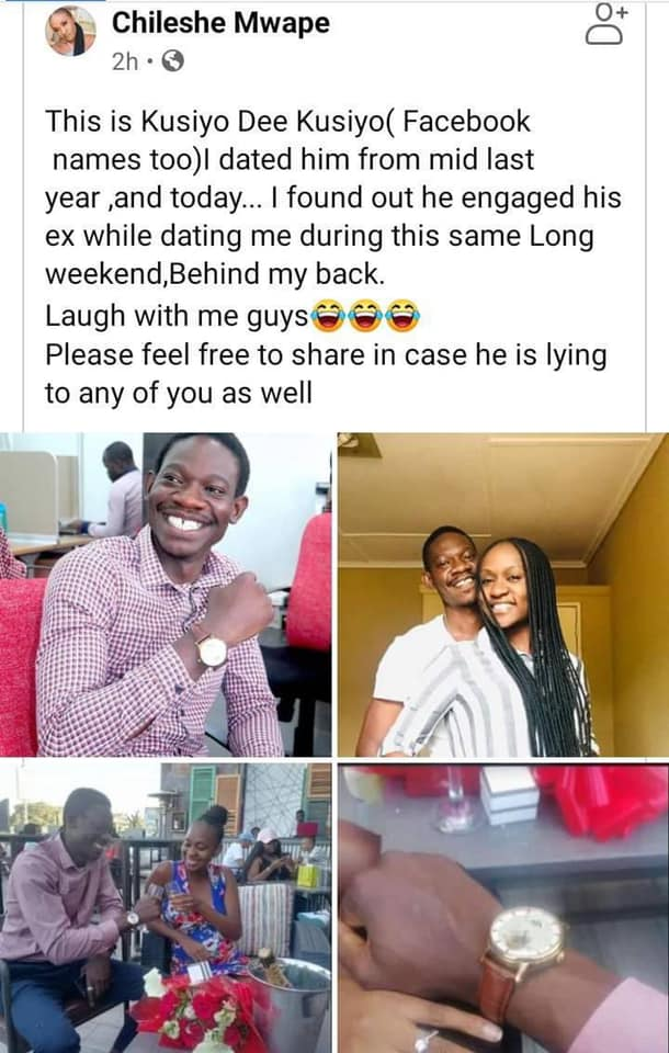 Zambian Woman Cries Foul After Her Man Posts His Engagement With Another Woman On Facebook