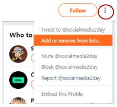 add or remove twitter list