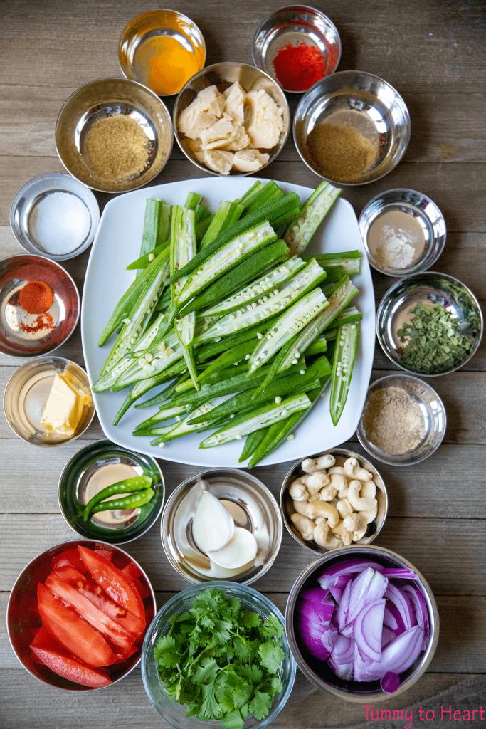Ingredients for Kolhapuri Shahi Bhindi