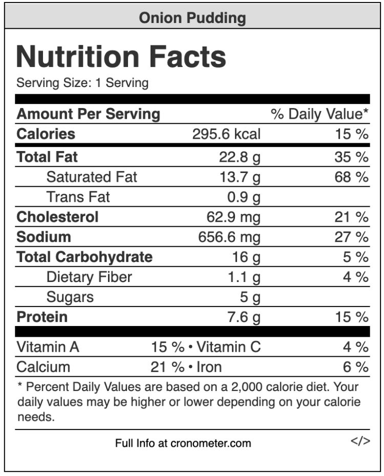 Nutrition facts - onion pudding