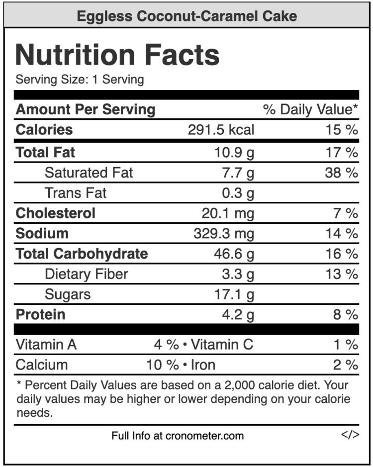 Eggless coconut caramel cake nutrition values