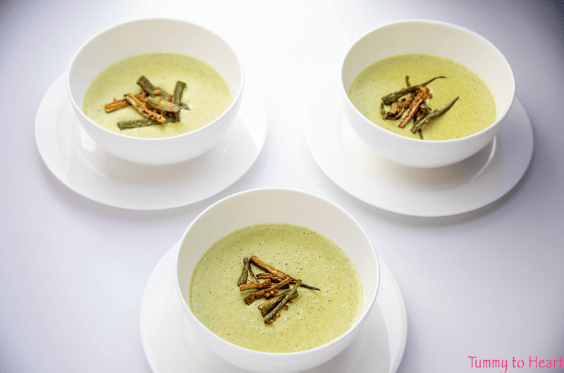 Okra Soup - with crispy okra - deliciously wholesome and filling