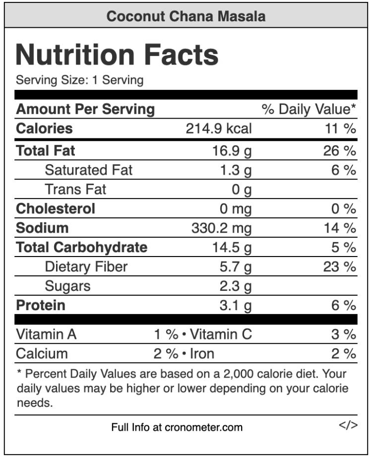 coconut chana masala nutrition value