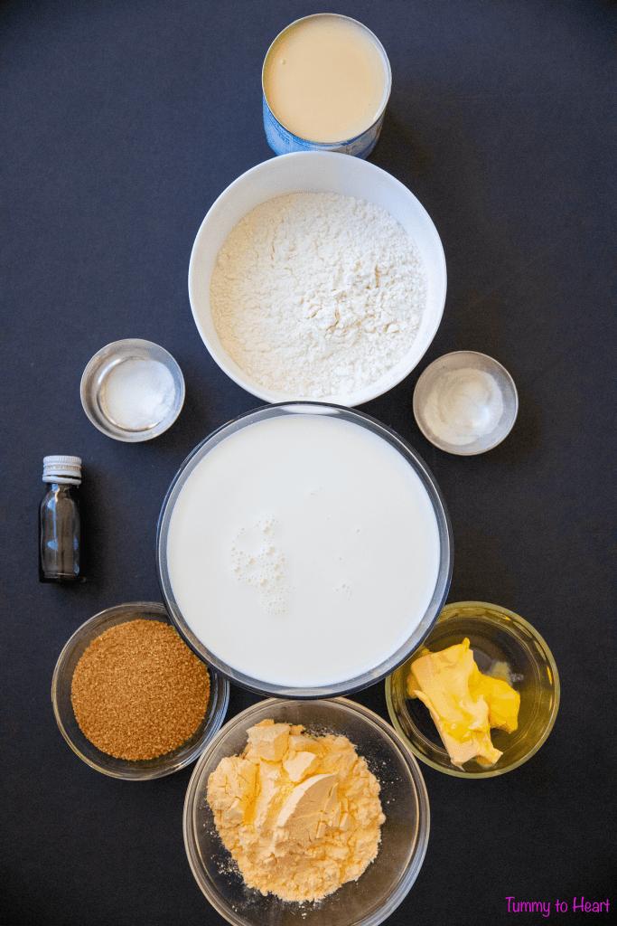 ingredients for eggless custard cake