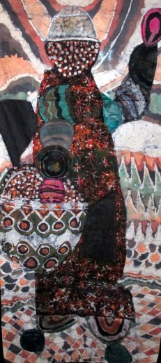 "SOLD: ""Walking With Treasure,"" batik quilt tapestry"
