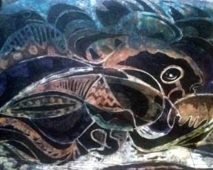 """""""Ori Leja Fi Labu,"""" 19"""" x 25"""", batik on handmade paper"""