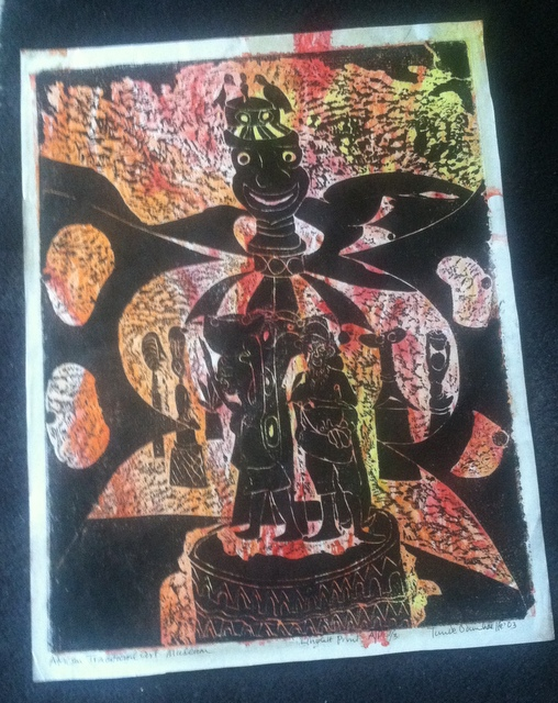 """""""Visit to an African Art Museum,"""" 21.5"""" x 17"""", block print on paper"""