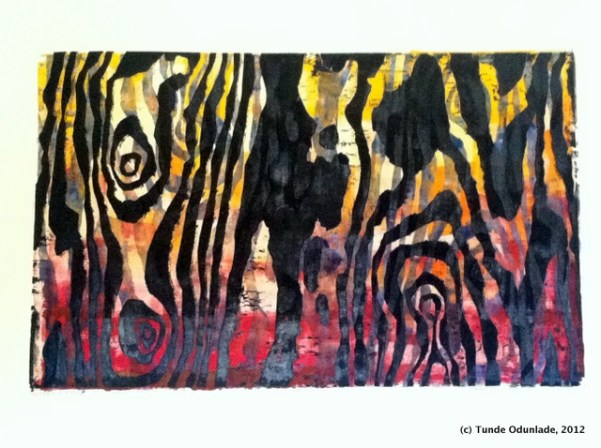 """""""Mother Nature,"""" 19"""" x 30"""", woodcut print 1992 / Edition 2012"""