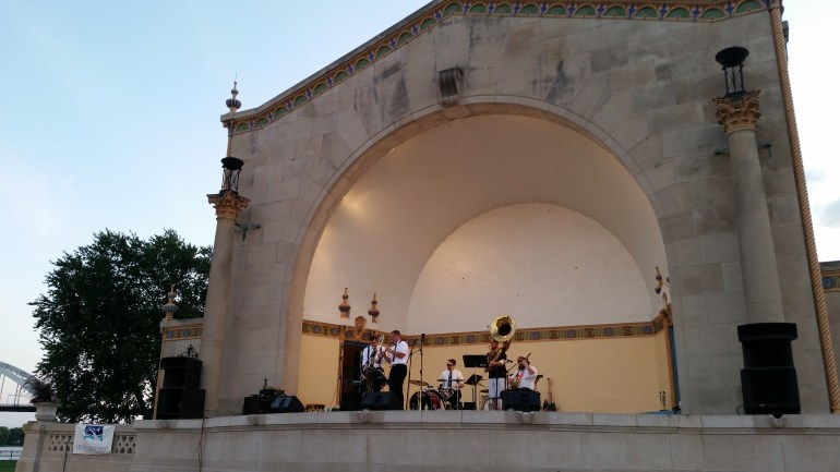 Basin Street Boys Jazz Band perform at the Bix Beiderbecke Memorial Jazz Festival at the outdoor amphitheater along the Mississippi River in Davenport, Iowa
