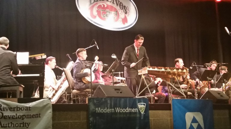 The Greystone Monarchs, Josh Duffee on xylophone, perform at the 2016 Bix Beiderbecke Memorial Jazz Festival