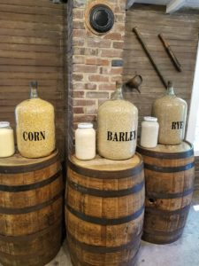 Ingredients for sour mash: corn, barley, and rye