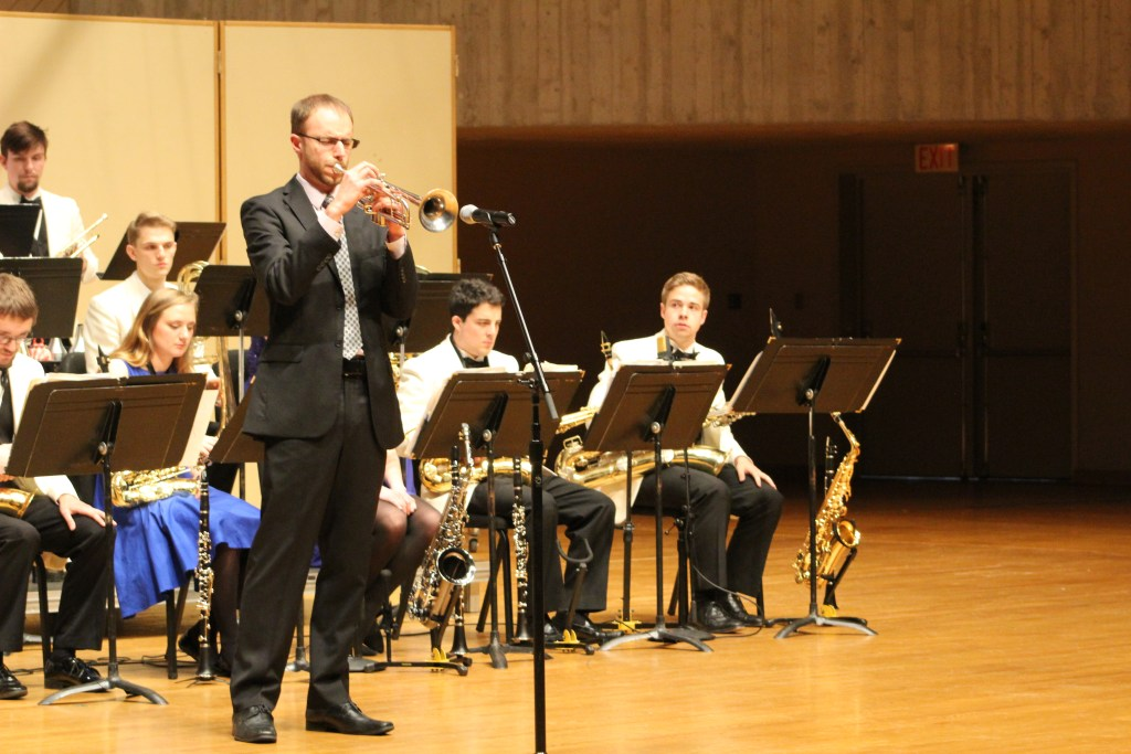 """Jon Ailabourni, guest faculty soloist performs """"Transit"""" with the Jazz Orchestra"""