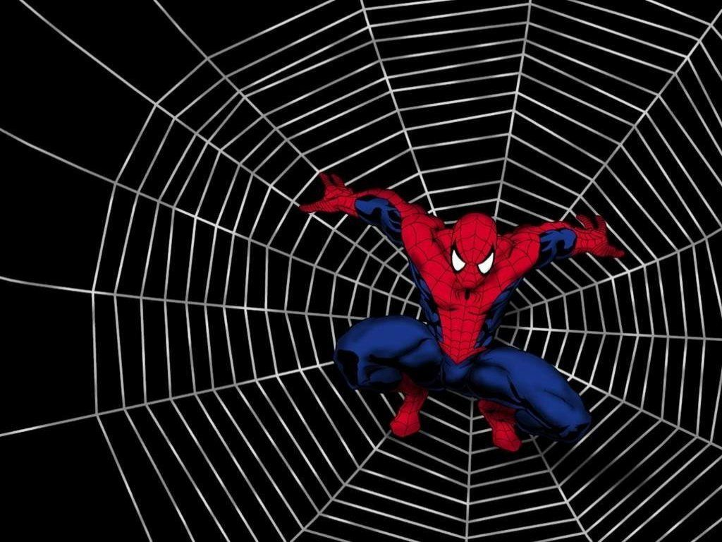 Spiderman caught in a web