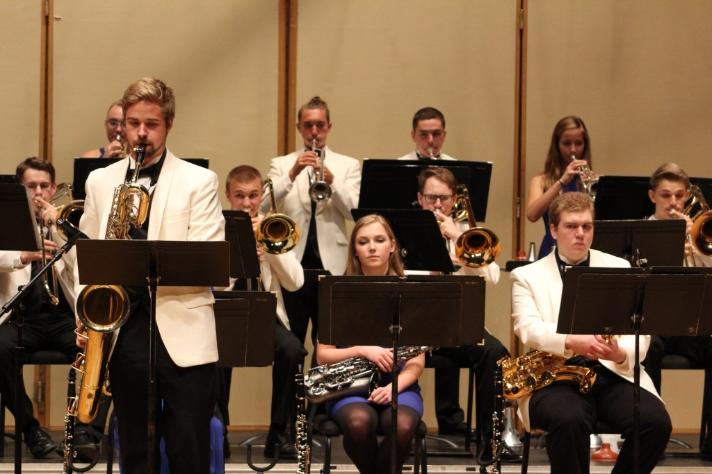 "The Luther College Jazz Orchestra performs ""Sophisticated Lady"" with soloist David Blackstad on bari sax."