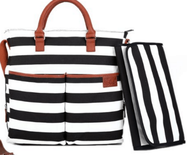2015 Gift Guide: Momma to be - Diaper Bag by Hip Cub - Plus Matching Baby Changing Pad - Black and White Stripe Designer Cotton Canvas W/ Cute Tan Trim