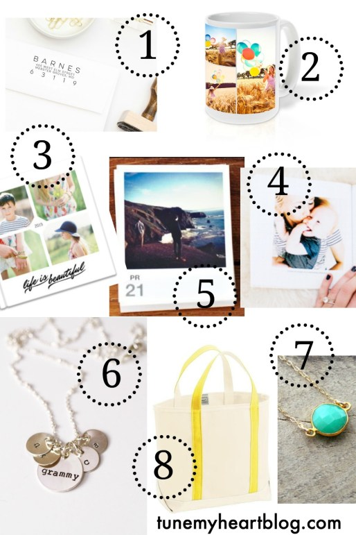 These are my top 8 customized gifts right now: custom address stamp | walmart.com photo collage mug | mixbook 8x8 photo book | studio press page a day custom photo calendar | chatbooks | custom initials necklace | awesome library tote | custom birthstone necklace