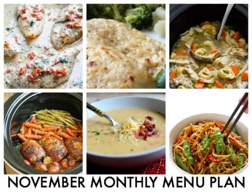 Monthly Menu Plan: November 2016