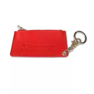 Leather Zip Keychain - red