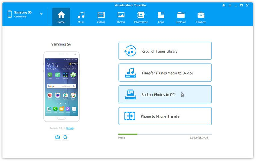 backup android photos to pc