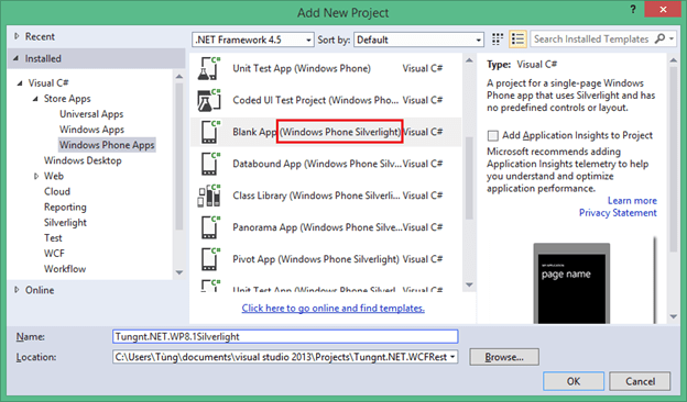 Tạo Windows Phone Silverlight App