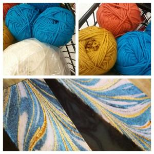 The pre-trip yarn shopping for a blanket that I wanted to design. The colours are inspired by artisan soap. For more info on the maker, check my IG: @_nicolecormier_ where I tagged her in this picture.