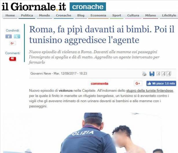 صورة خبر التبول في الصحف الإيطالية
