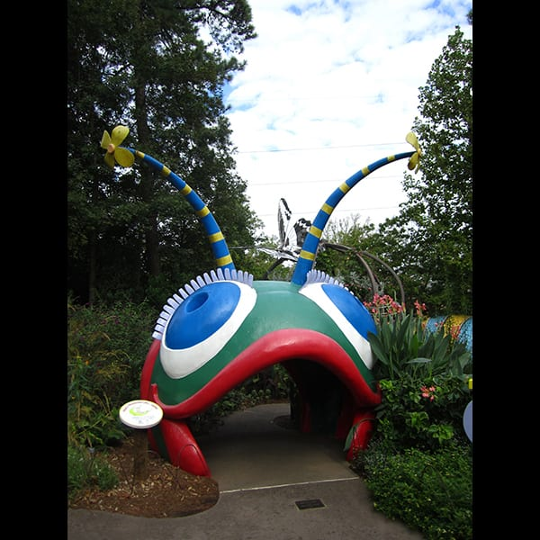 View of caterpillar sculpture in the Children's Garden at the Atlanta Botanical Garden in Atlanta, Georgia, project management by Tunnell and Tunnell Landscape Architecture.