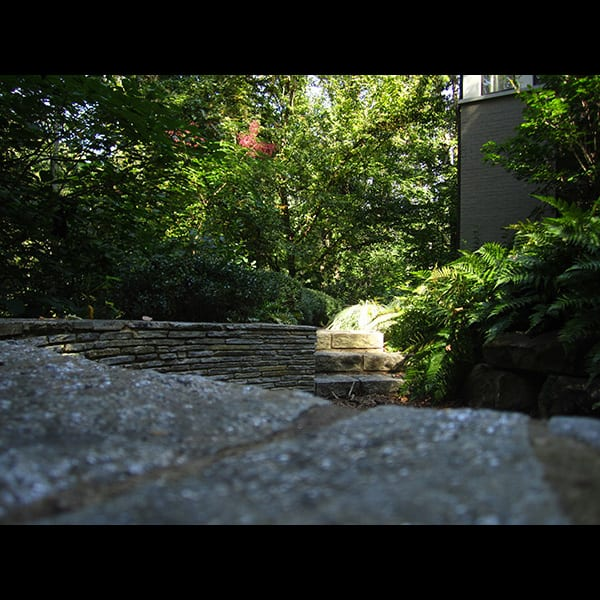 View to mulch trail from top of seat wall at a north Atlanta residence in Buckhead, landscape designed by Tunnell and Tunnell Landscape Architecture.