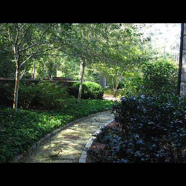 Secret garden at an Atlanta residence, landscape designed by Tunnell and Tunnell Landscape Architecture.