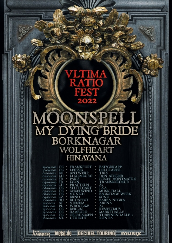 """Moonspell Teams Up With My Dying Bride, Borknagar, Wolfheart & More For """"Ultima Ratio Fest"""" European Tour In 2022!"""