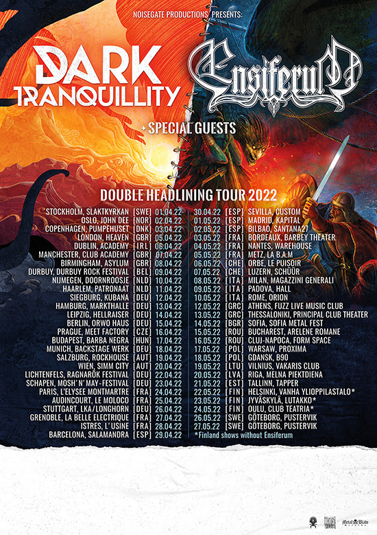 Ensiferum announce European co-headline tour with Dark Tranquillity and launch new music video.
