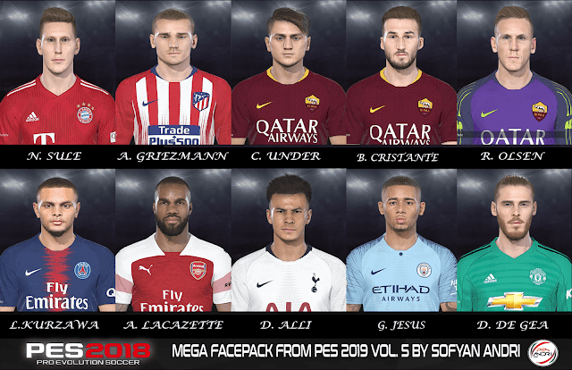 Download File cập nhật Face PES 2019 cho PES 2018 - Facepack PES 2018