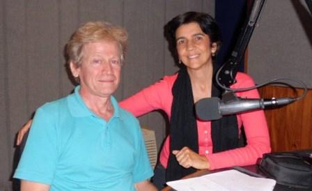 Ignacio Moreno con Marisela Valero en el estudio. Foto Héctor Luna