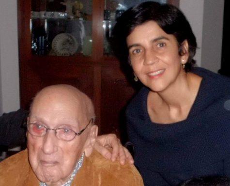 Jacinto Convit con Marisela Valero en la celebración de su centenario. Foto Nidia Hernández