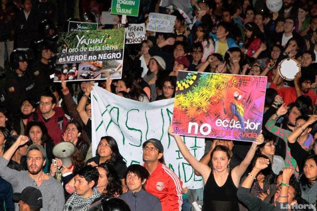 Ecologistas protestan contra el gobierno ecuatoriano