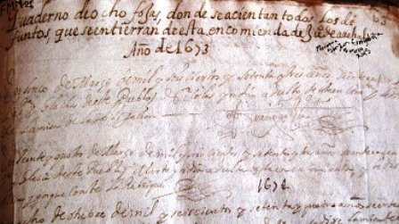 El Libro màs antiguo de la Parroquia San Juan Evangelista (Diòcesis de los Teques), Venezuela. FMM. Foto Parroquia San Juan Evangelista