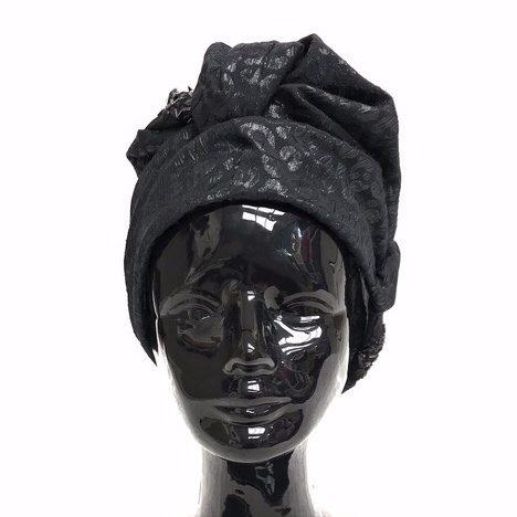 Turban hat hijab of jacquard with emroidered ribbon