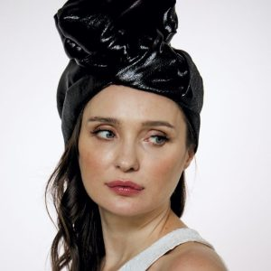 "Black silk shine ""vinyl"" turban hat hijab"